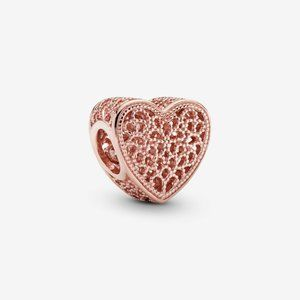 Pandora Filigree and Beaded Heart Charm
